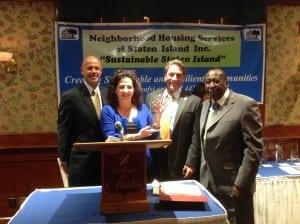 Vincent Albunio NHSSI Board Pres., Senator Diane Savino, Assembly member Matthew Titone, NHSSI Executive Director Alfred Gill